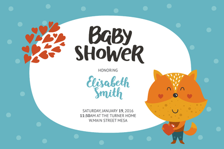 girl in love: Baby shower girl and boy invitation, vector templates with animal. Shower cards with cute fox in love. Illustration