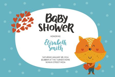 Baby shower meisje en jongen uitnodiging, vector sjablonen met dieren. Douche kaarten met leuke vos in de liefde.