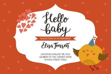 hello heart: Baby shower girl and boy invitation, vector templates with animal. Shower cards with cute bird.