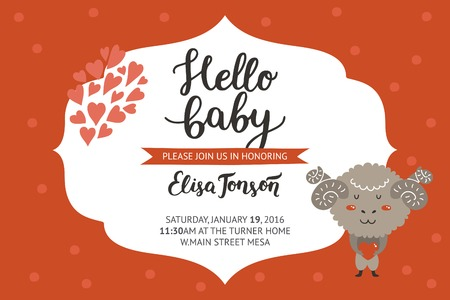 hello heart: Baby shower girl and boy invitation, vector templates with animal. Shower cards with cute merinos.