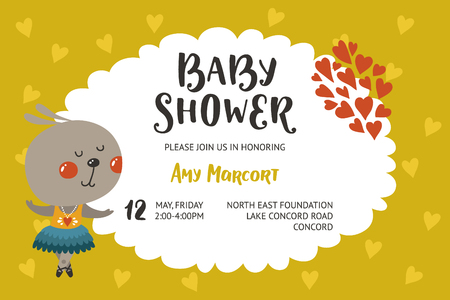 hello heart: Baby shower girl and boy invitation, vector templates with animal. Shower cards with cute rabbit.