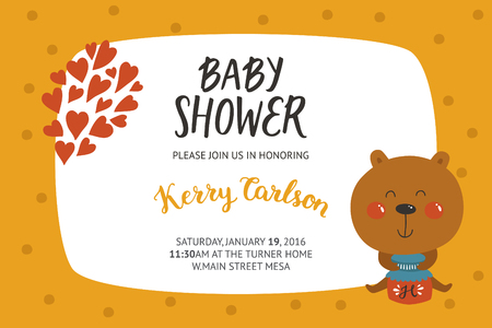 baby bear: Baby shower girl and boy invitation, vector templates with animal. Shower cards with cute bear.