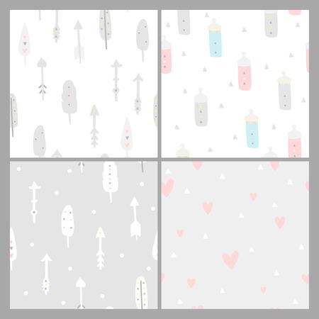 pezones: Baby Shower fondos transparentes. Los colores pastel. patrón de los niños con plumas, flechas, corazones y los pezones, el estilo boho