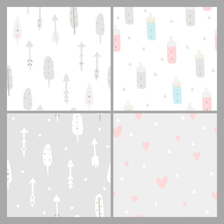 Baby shower seamless backgrounds. Pastel colors. Kids pattern with feathers, arrows, hearts and nipples, boho style