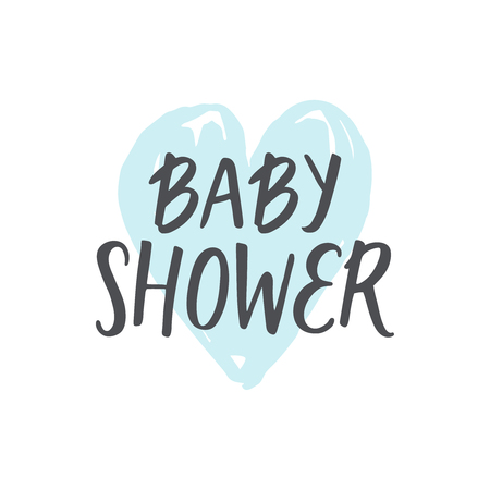 Baby shower girl and boy, vector text. Hand drawn font for design shower invitations, posters and cards Ilustração