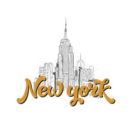 new york skyline: New york lettering, modern text and skyline city. Vector New york print, hand drawn font for design cards, prints Illustration