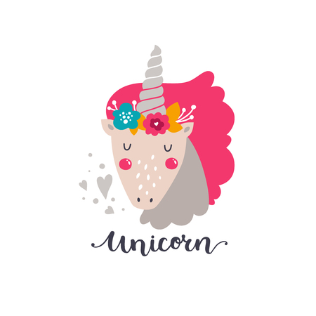 cute cards: Vector baby unicorn. Kids illustration for design prints, cards and birthday invitations. Girl cards with cute unicorn, flowers and hand drawn lettering on white Illustration