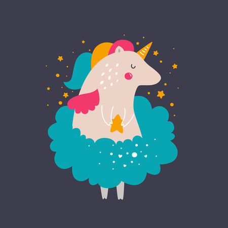 cute cards: Vector baby unicorn. Kids illustration for design prints, cards and birthday invitations. Girl cards with cute unicorn and stars