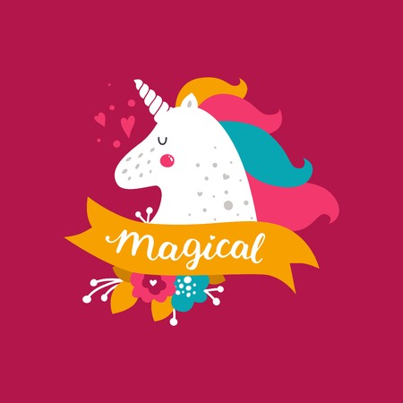 Vector baby unicorn. Kids illustration for design prints, cards and birthday invitations. Girl cards with cute unicorn, flowers and hand drawn lettering on pink Ilustração