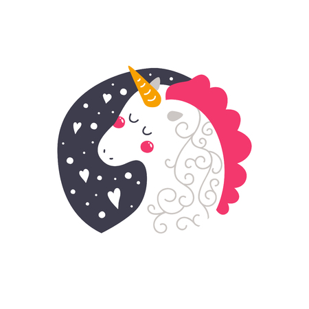 Vector baby unicorn. Kids illustration for design prints, cards and birthday invitations. Girl card with cute unicorn on white background Ilustração