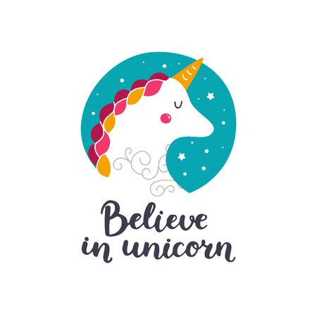 Vector baby unicorn. Kids illustration for design prints, cards and birthday invitations. Girl cards with cute unicorn and hand drawn lettering. Believe in unicorn