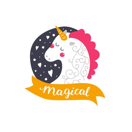 Vector baby unicorn. Kids illustration for design prints, cards, birthday invitations. Girl card with cute unicorn, hearts and hand drawn lettering on white