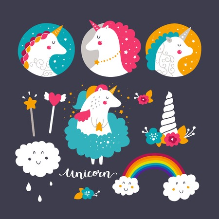 Set of baby unicorn and rainbow. Kids illustrations for design prints, cards and birthday invitations. Vector collection with cute unicorn, rainbow, flowers and hand drawn lettering Ilustrace