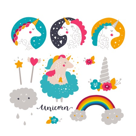 Set of baby unicorn and rainbow. Kids illustrations for design prints, cards and birthday invitations. Vector collection with cute unicorn, rainbow, flowers and hand drawn lettering Ilustração
