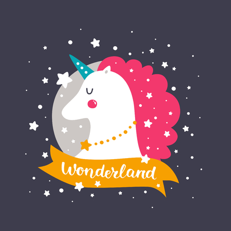 Vector baby unicorn. Kids illustration for design prints, cards and birthday invitations. Girl card with cute unicorn, stars and hand drawn lettering, Wonderland