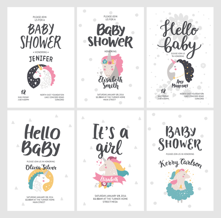 Baby shower posters vector invites baby shower cards with cute baby shower posters vector invites baby shower cards with cute unicorns and hand drawn filmwisefo