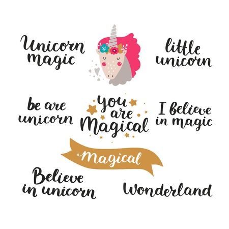Vector font and baby unicorn, hand drawn lettering, inspirational quote isolated on white background. Unicorn magic, You are magical, Wonderland, Magical