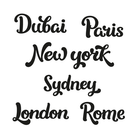 Vector font for design cards, prints, banners. Travel signs isolated on white background. Dubai, Paris, New york, Sydney, London and Rome