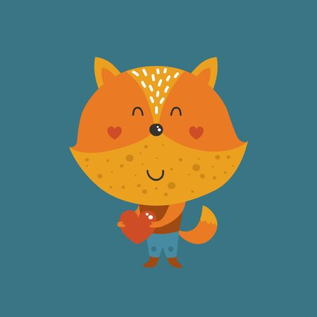 Vector fox with heart, cute children illustration. Baby animal for design greeting cards, prints, scrapbook, shirt Ilustração