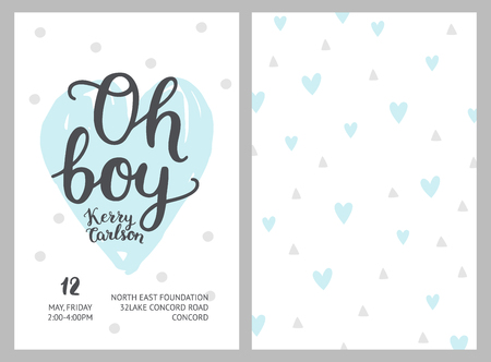 Baby shower boy invitations, vector templates. Shower pastel cards with hearts and hand drawn text on white background Ilustração