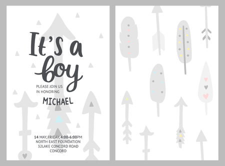 Baby shower boy invitation, vector templates. Shower pastel cards with feathers, arrows and hand drawn text on white Ilustração