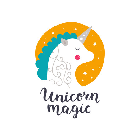 Vector baby unicorn. Kids illustration for design prints, cards and birthday invitations. Girl card with cute unicorn, stars and hand drawn lettering on white