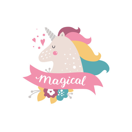 Vector baby unicorn. Kids illustration for design prints, cards and birthday invitations. Girl cards with cute unicorn, flowers and hand drawn lettering on white Ilustração