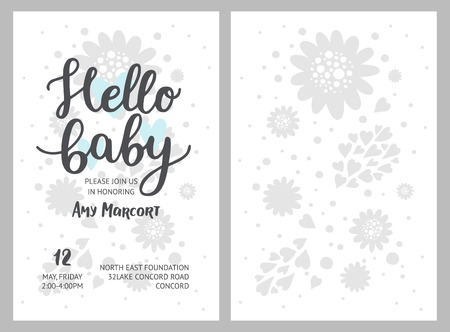 Baby shower girl and boy invitations, vector templates. Shower pastel cards with flowers, hearts and hand drawn text on white background Ilustração