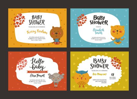 Baby shower girl and boy invitations, vector templates with animals. Shower cards with bear, cat, merinos and bird.