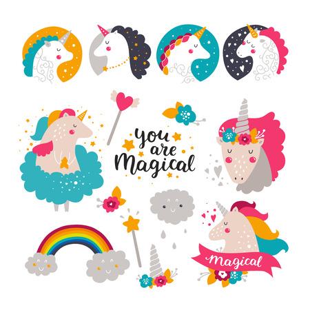 아기 유니콘과 무지개의 집합입니다. 디자인 인쇄, 카드 및 생일 초대장을위한 어린이 그림입니다. 귀여운 유니콘, 무지개, 꽃, 손으로 그린 글자