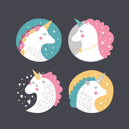 Vector baby unicorn. Kids illustration for design prints, cards and birthday invitations. Kids print with cute unicorns