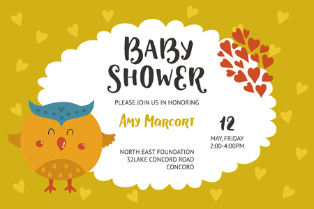Baby shower girl and boy invitation, vector templates with animal. Shower cards with cute bird.