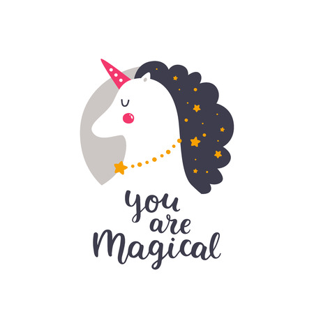 Vector baby unicorn. Kids illustration for design prints, cards and birthday invitations. Girl card with cute unicorn, stars and hand drawn lettering on white. You are magical Ilustração