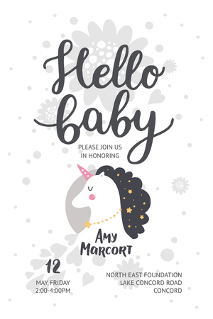 Baby shower poster, vector invite. Baby shower card with cute unicorn and hand drawn font on white background, pastel colors