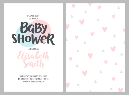 Baby shower girl and boy invitations, vector templates. Shower pastel cards with feathers, arrows and hand drawn text on white background