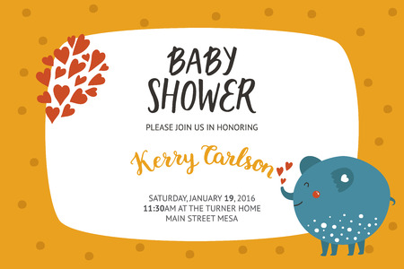 Baby shower girl and boy invitation, vector templates with animal. Shower cards with cute elephant. Ilustração