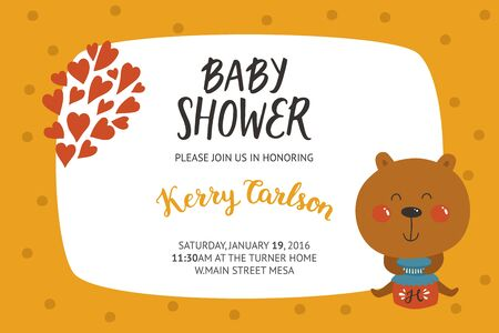 cute cards: Baby shower girl and boy invitation, vector templates with animal. Shower cards with cute bear.