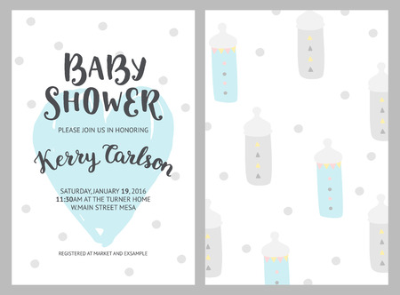 Baby shower girl and boy invitations, vector templates. Shower pastel cards with nipples, heart and hand drawn text on white background