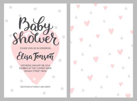 Baby shower girl and boy invitations, vector templates. Shower pastel cards with hearts and hand drawn text on white background Imagens - 60590413