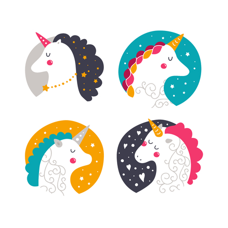 Vector baby unicorn. Kids illustration for design prints, cards and birthday invitations. Kids print with cute unicorns on white background Imagens - 60590424