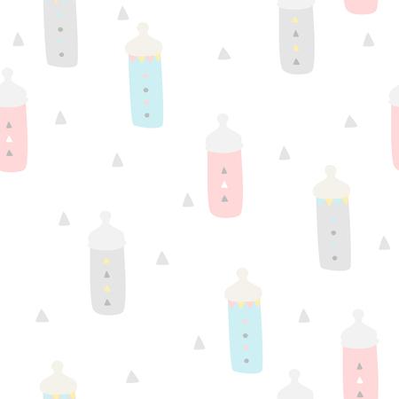pezones: Baby shower de fondo sin fisuras. Los colores pastel. patr�n de los ni�os con los pezones, el estilo boho Vectores