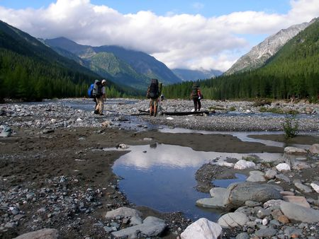 tourists, landscape, mountains and river, valley Stock Photo - 711821