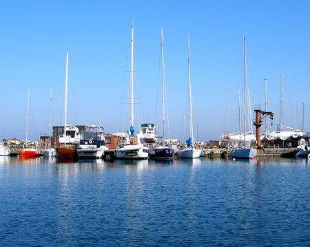 moored: Moored yachts