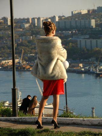 Beautiful rich woman, city, promenade