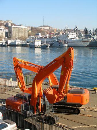 Excavators, seaport Vladivostok, Russia Stock Photo - 936128