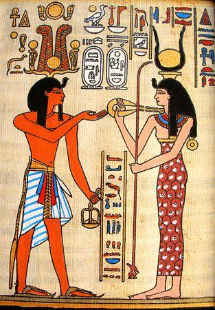Pharaoh and goddess - old papyrus