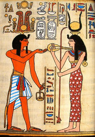 papyrus: Pharaoh and goddess - old papyrus