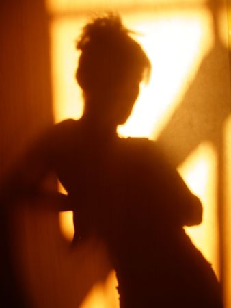 woman back view: Silhouette of woman