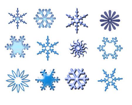 Snowflakes isolated on white, illustration, design elements illustration