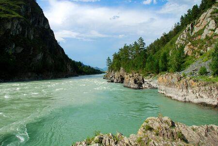 katun: Mountain river Katun, Altai, Russia Stock Photo
